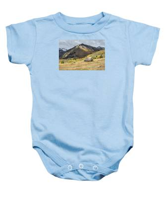 Log Barn In The Mountains Baby Onesie