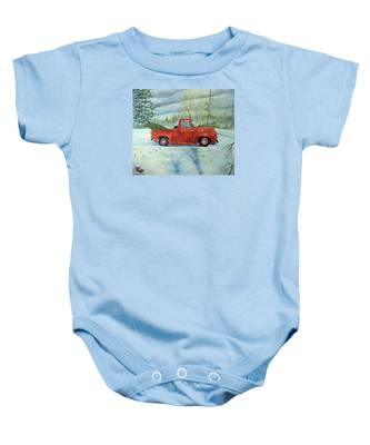 Picking Up The Christmas Tree Baby Onesie