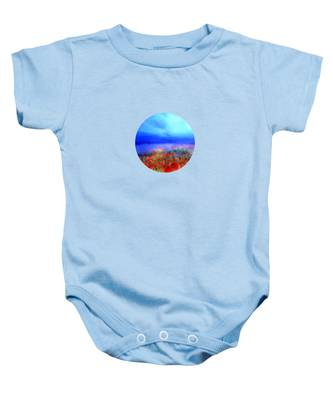 Poppies In The Mist Baby Onesie