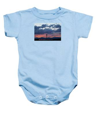 Sunset Red Clouds And Space Needle Baby Onesie