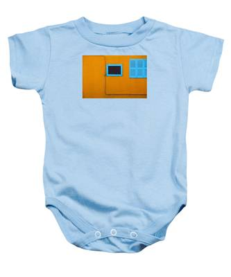 Yellow Wall, Blue Trim Baby Onesie by Dart and Suze Humeston