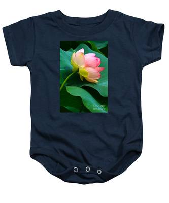 Lotus Blossom And Leaves Baby Onesie