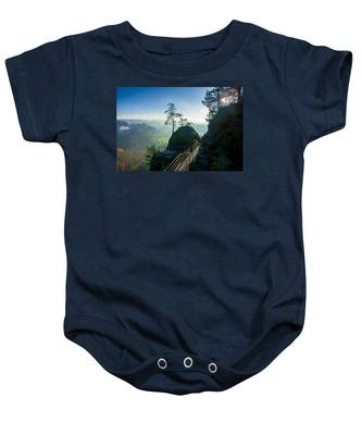 Misty Sunrise On Neurathen Castle Baby Onesie