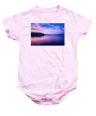 Sunset During Blue Hour At The Lake Baby Onesie