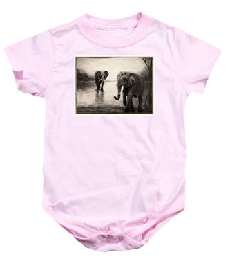 African Elephants At Sunset Baby Onesie