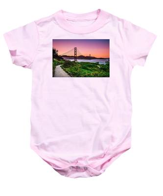 Golden Gate Bridge San Francisco California At Sunset Baby Onesie