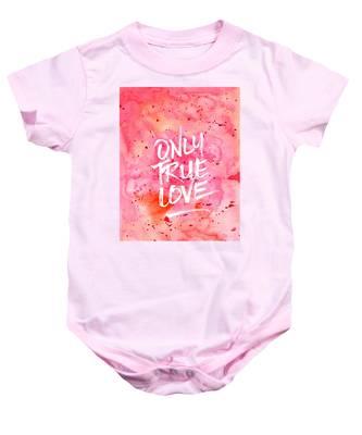 Only True Love Handpainted Abstract Watercolor Red Pink Orange Baby Onesie
