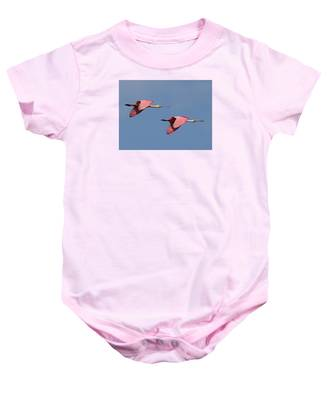 Baby Onesie featuring the photograph Roseate Spoonbills by Dart and Suze Humeston