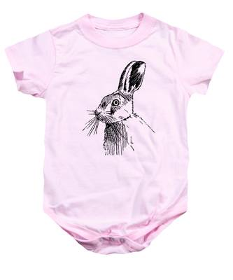 Hare On Burlap Baby Onesie