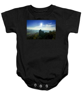 Autumn Sunrise In The Elbe Sandstone Mountains Baby Onesie