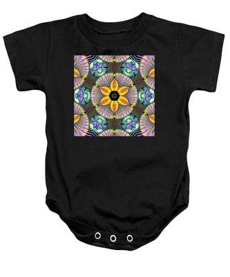 Baby Onesie featuring the digital art Cosmic Spiral Kaleidoscope 13 by Derek Gedney