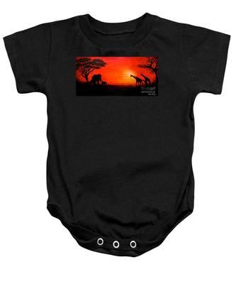 Sunset At Serengeti Baby Onesie