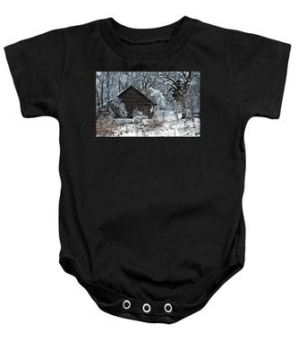 Snow Covered Barn Baby Onesie