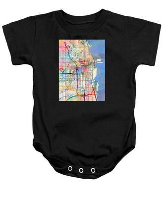 Chicago City Street Map Baby Onesie