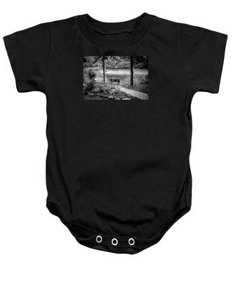 A Lone Bench By The Nantahala River Baby Onesie