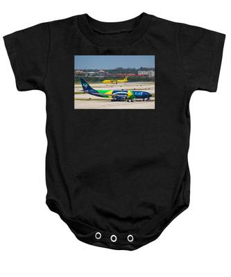 Baby Onesie featuring the photograph Azul Airline by Dart and Suze Humeston