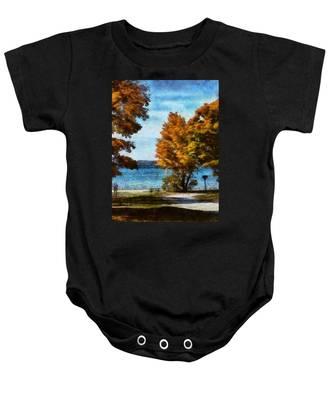 Bass Lake October Baby Onesie