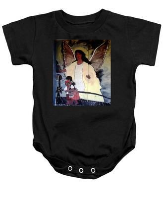Black Guardian Angel Mural Baby Onesie