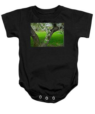 Crabapple Blossoms On A Rainy Spring Day Baby Onesie