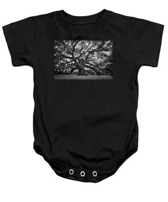 Dramatic Angel Oak In Black And White Baby Onesie