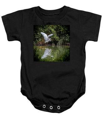 Egret Hunting For Lunch Baby Onesie