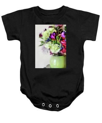 Floral Bouquet In Green Baby Onesie