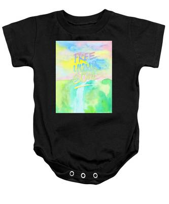 Free Your Soul Watercolor Colorful Spring Waterfall Painting Baby Onesie