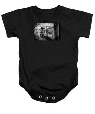 Great Smokey Mountain Railroad Looking Out At The Train In Black And White Baby Onesie