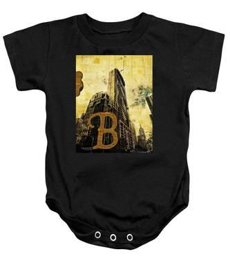 Grungy Melbourne Australia Alphabet Series Letter B Central Busi Baby Onesie