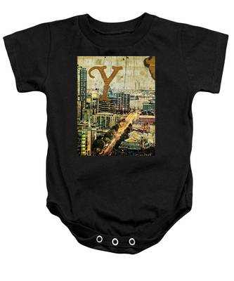 Grungy Melbourne Australia Alphabet Series Letter Y Yarra River Baby Onesie