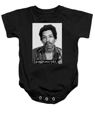 Jimi Hendrix Mug Shot Vertical Baby Onesie