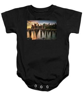 Lower Manhattan Sunset Twinkle Baby Onesie