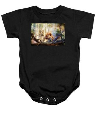 Red Squirrel With Pinecone Baby Onesie