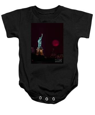 Super Moon Rising And The Statue Of Liberty Baby Onesie