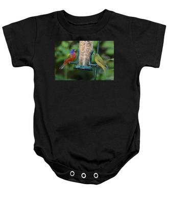 Baby Onesie featuring the photograph Two Painted Buntings by Dart Humeston