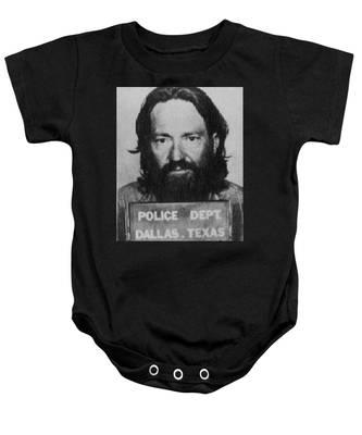 Willie Nelson Mug Shot Vertical Black And White Baby Onesie