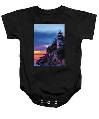 Bass Harbor Head Lighthouse At Twilight Baby Onesie