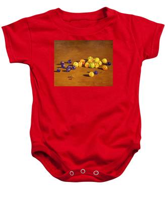 Plums And Apples Still Life Baby Onesie