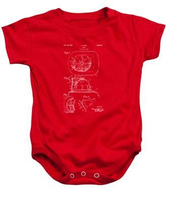 1932 Fireman Helmet Artwork Red Baby Onesie