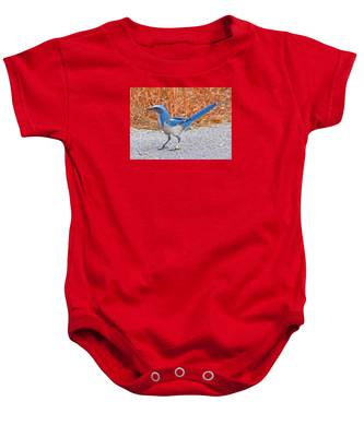 Baby Onesie featuring the photograph Florida Scrub Jay by Dart and Suze Humeston