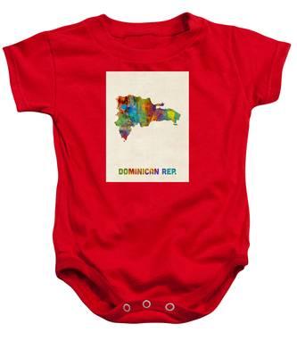 Dominican Republic Watercolor Map Baby Onesie