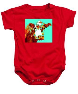 Turquoise Cow Baby Onesie