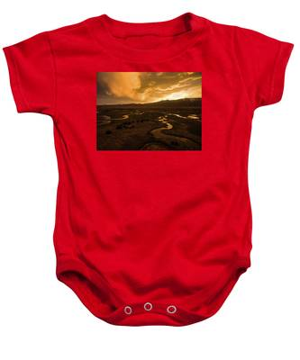 Sunrise Over Winding Rivers Baby Onesie