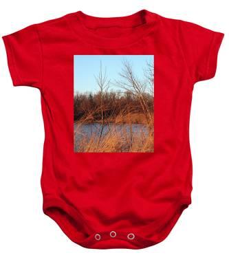 Sunset Field Over Water Baby Onesie