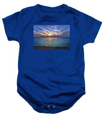 Sunset At The Cliff Beach Baby Onesie