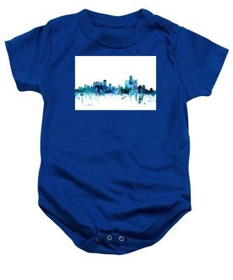 Detroit Michigan Skyline Baby Onesie