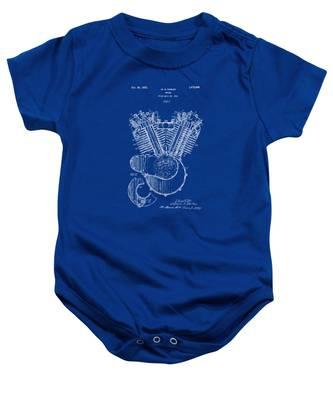 1923 Harley Davidson Engine Patent Artwork - Blueprint Baby Onesie