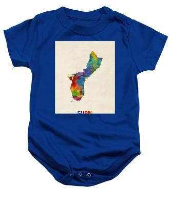 Guam Watercolor Map Baby Onesie