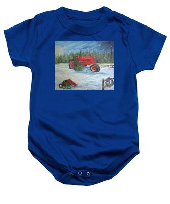 Antique Tractor At The Christmas Tree Farm Baby Onesie