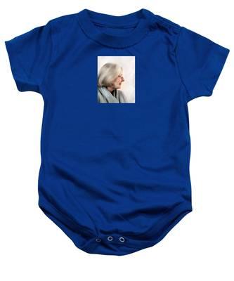 Woman In Grey Baby Onesie